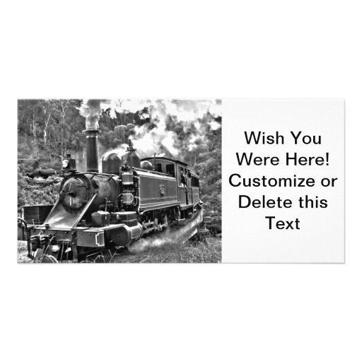Train démodé de vapeur de mesure étroite modèle pour photocarte
