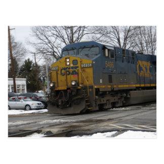 Train d'hiver carte postale