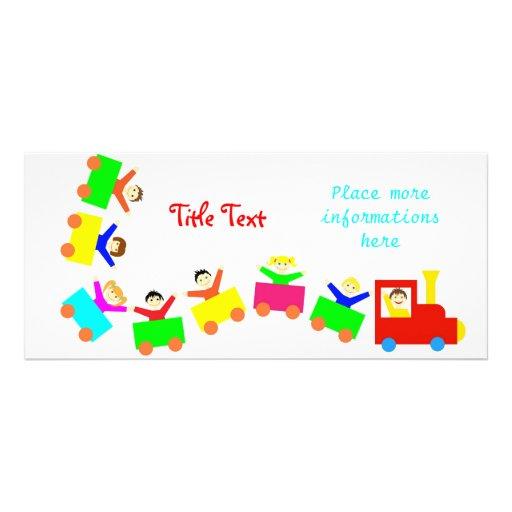 Train heureux d'enfants modèle de double carte