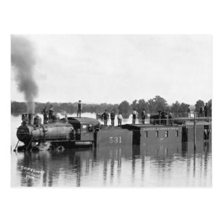 Train inondé, 1904 carte postale