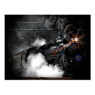 Train locomotif de noir vintage de machine à cartes postales