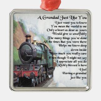 Train - poème de papy ornement carré argenté