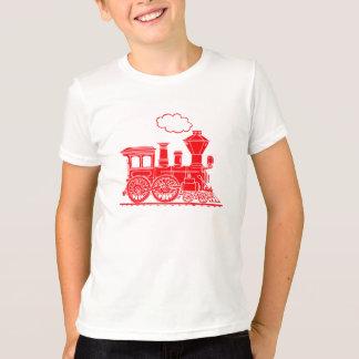 Train rouge de locomotive à vapeur sur le T-shirt