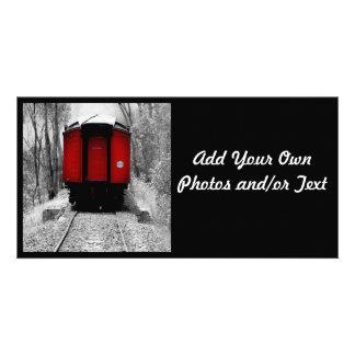 Train rouge démodé de vapeur photocarte customisée