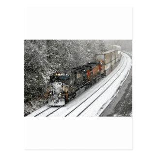 Train vers l'ouest dans la neige carte postale