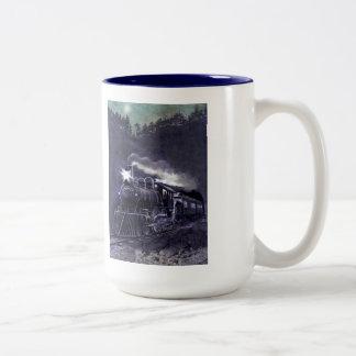 Train victorien magique de machine à vapeur mug bicolore