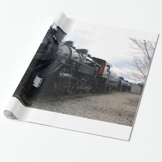Train vintage de vapeur de chemin de fer papier cadeau noël