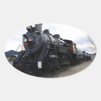 Train vintage de vapeur de chemin de fer sticker ovale