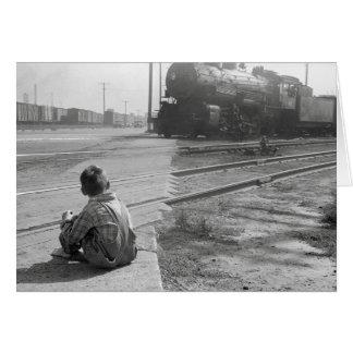 Trains de observation de garçon, 1939 carte de vœux