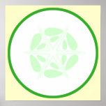 Tranche de concombre. Vert et blanc Posters