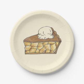 Tranche de tarte aux pommes avec des plats de assiettes en papier