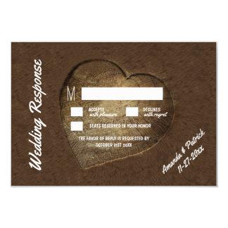 Tranche découpée rustique d'arbre épousant des carton d'invitation 8,89 cm x 12,70 cm