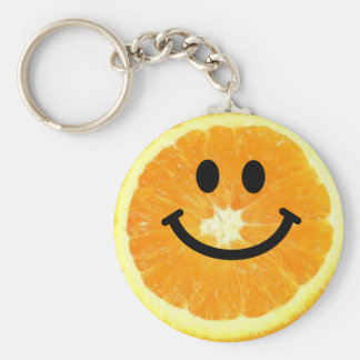 Tranche orange souriante porte-clé rond