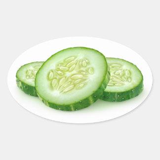 Tranches de concombre sticker ovale