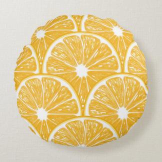 Tranches oranges, conception de motif de fruit coussins ronds