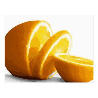 Tranches oranges juteuses délicieuses carte postale