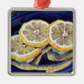 Tranches régénératrices de citron ornement carré argenté