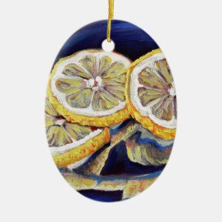 Tranches régénératrices de citron ornement ovale en céramique