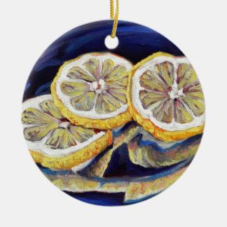 Tranches régénératrices de citron ornement rond en céramique