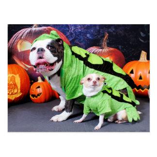 Transitoire anglaise de bouledogue de Halloween - Carte Postale