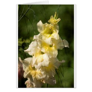 Transitoire jaune de fleur de glaïeul carte de vœux
