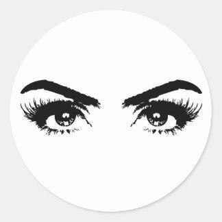 Transparent sexy de yeux sticker rond