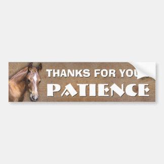 Transport de cheval : Merci pour votre patience Autocollant De Voiture