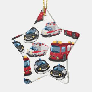 Transport de pompiers de police, d'ambulance et ornement étoile en céramique