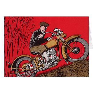 Transport vintage, cavalier antique de moto cartes de vœux
