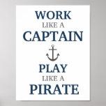 Travail comme un capitaine Nautical Nursery Print Affiches