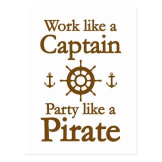 Travail comme un capitaine Party Like A Pirate Carte Postale