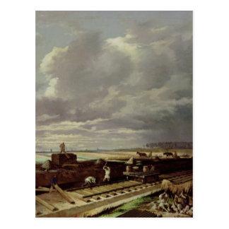 Travail de construction sur une ligne ferroviaire, carte postale