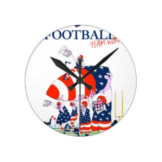 Travail d'équipe de football, fernandes élégants horloge ronde