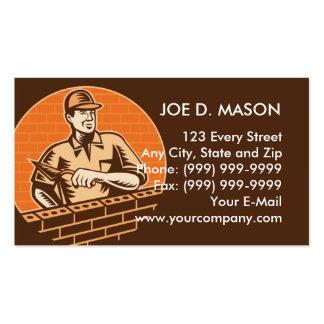 travailleur de brique de maçonnerie ou plâtrier modèles de cartes de visite