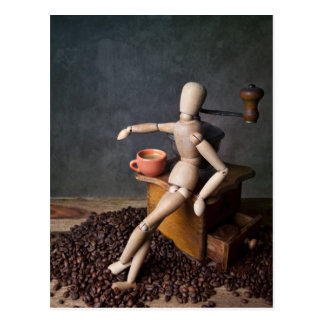 Travailleur de café carte postale