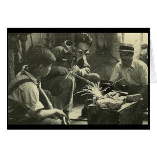 Travailleurs vintages carte de vœux