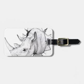 Traverser principal de rhinocéros le mur étiquette à bagage
