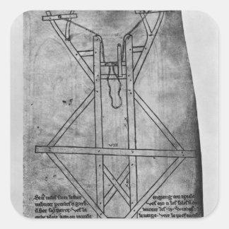 Trebuchet, machine pour jeter des flèches autocollant carré