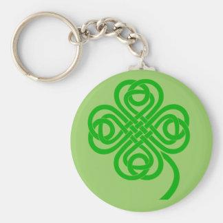 Trèfle celtique de feuille du noeud quatre porte-clé rond