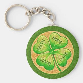 Trèfle de quatre feuilles - chance d'amour d'espoi porte-clé rond