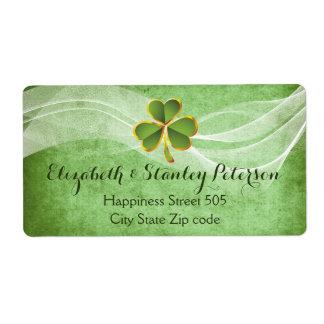 Trèfle irlandais et mariage irlandais de vert étiquette d'expédition