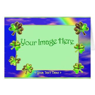 Trèfle vert (cadre de photo) carte de vœux
