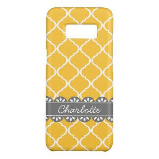 Trellis marocain jaune à la mode et dentelle grise coque Case-Mate samsung galaxy s8