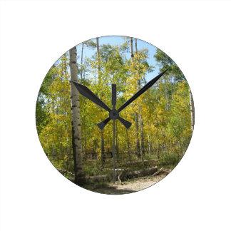 Trembles en automne horloge ronde