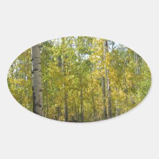 Trembles en automne sticker ovale