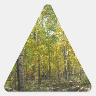 Trembles en automne sticker triangulaire
