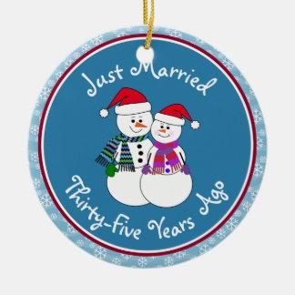 trente-cinquième Couples Christsmas de neige Ornement Rond En Céramique