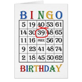 trente-neuvième Carte de bingo-test d'anniversaire