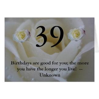 trente-neuvième Carte de rose blanc d'anniversaire