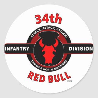 """trente-quatrième DIVISION d'INFANTERIE"""" RED BULL """" Autocollant Rond"""